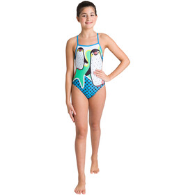 arena Crazy Penguins Lighttech Back One Piece Swimsuit Girls black/turquoise
